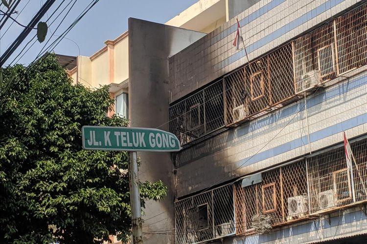 Kebakaran yang menewaskam sekeluarga di Teluk Gong, Pejegalan, Penjaringan, Jakarta Utara, Senin (5/8/2019)