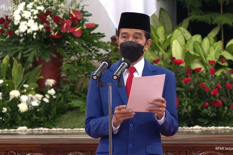 Foto tangkapan layar YouTube Sekretariat Presiden: Presiden Joko Widodo memberikan sambutan dalam  acara peringatan Hari Bhayangkara ke-75 yang digelar di Istana Negara, Jakarta, Kamis (1/7/2021).