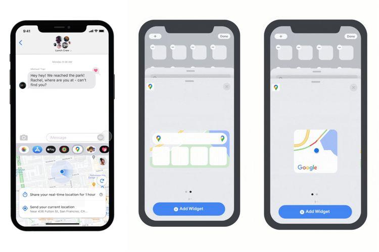 Fitur share live location dan widget di Maps versi iOS.