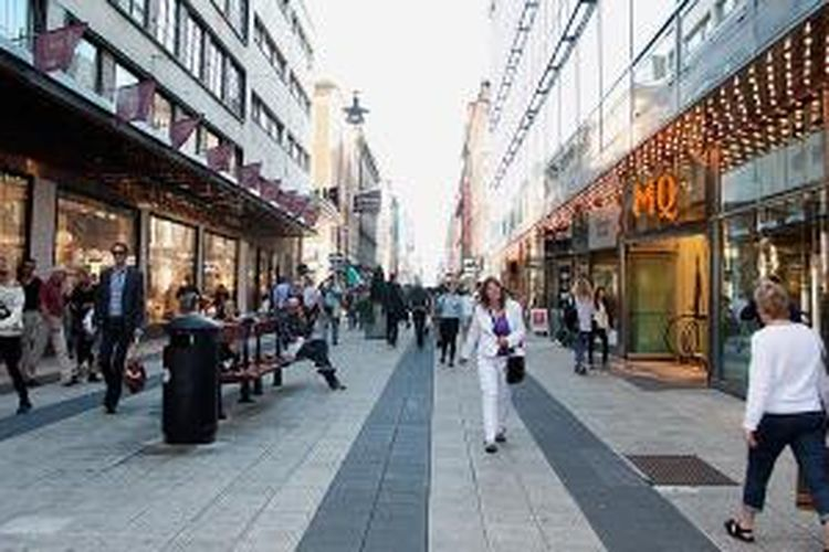 Kota Stockholm, Swedia, yang nyaman bagi pejalan kaki.