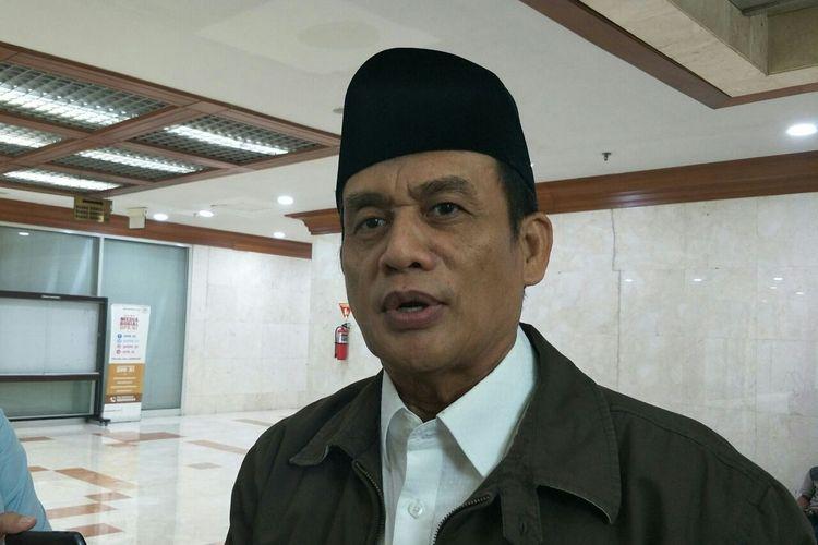 Anggota Dewan Penasihat DPP Partai Gerindra Raden Muhammad Syafii di Kompleks Parlemen Senayan, Jakarta, Rabu (15/5/2019).