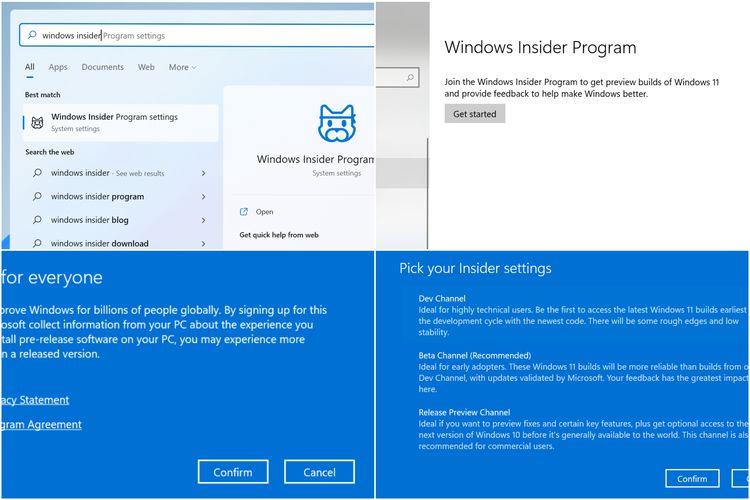 Langkah mendaftarkan diri ke Windows Insider Programs.