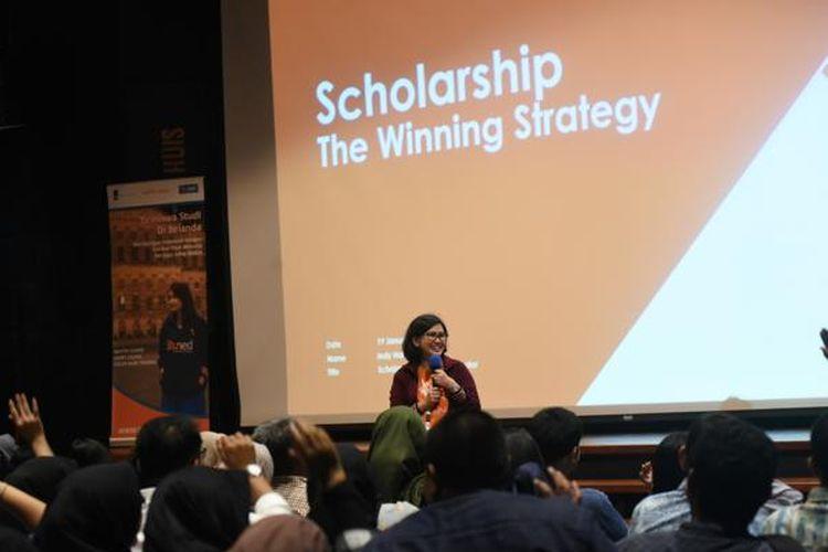 Indy Hardono dalam Pameran Pendidikan Holland Scholarship Programme, Erasmus Huis, Jakata, Sabtu (19/1/2020)