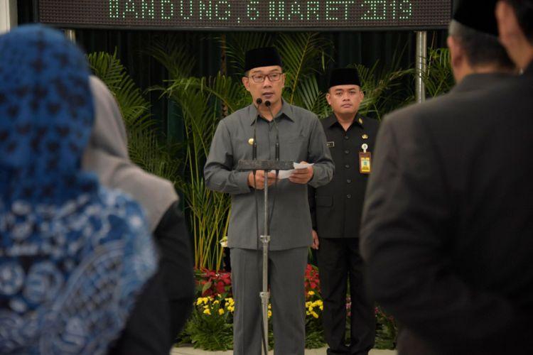Gubernur Jawa Barat Ridwan Kamil saat berpidato dalam pelantikan 14 pejabat tinggi pratama di Gedung Sate, Jalan Diponegoro, Rabu (6/3/2019).