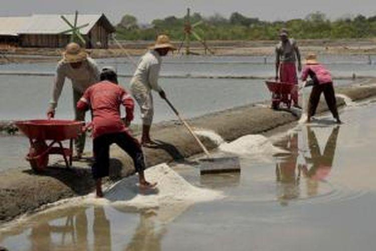 Petani garam di Desa Lembung, Kecamatan Galis, Kabupaten Pamekasan, mulai memanen garam tahap pertama di tahun ini.