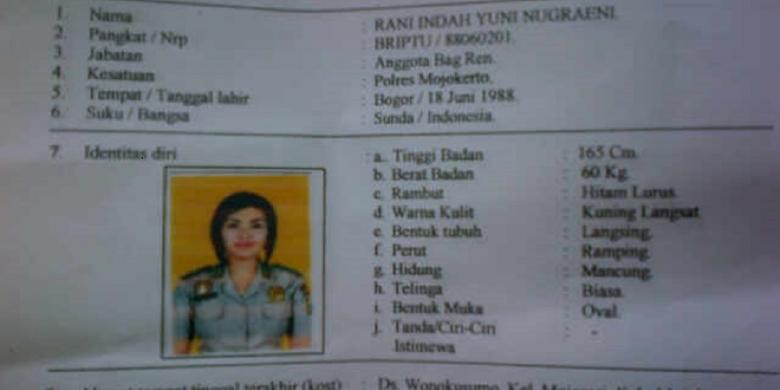 Briptu Rani masuk dalam daftar pencarian orang (DPO) setelah lebih dari 30 hari tidak masuk kerja di Polres Mojokerto