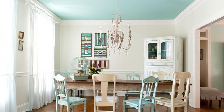 Kombinasi Warna Cat Dinding Dan Keramik biru bangkitkan selera makan