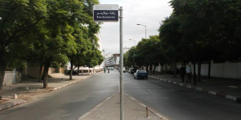 Rue Soukarno atau Jalan Soekarno di Maroko