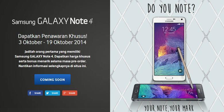 Ini Dia Harga Resmi Galaxy Note 4 Di Indonesia Kompas Com