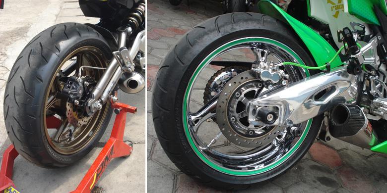 KompasOtomotif-donny apriliananda Mengganti ban sepeda motor hendaknya diikuti penggantian pelek agar seimbang.