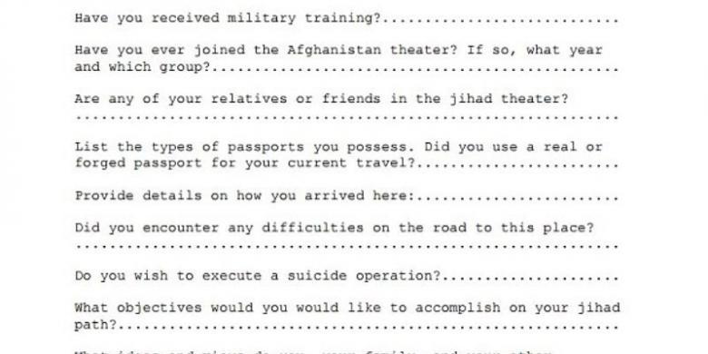 Inilah Formulir Pendaftaran Untuk Calon Anggota Al Qaeda Kompas Com