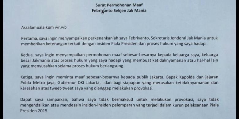Sekjen The Jakmania Tulis Surat Permohonan Maaf