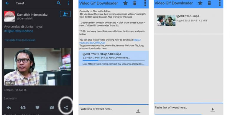 cara mendownload video di twitter ios