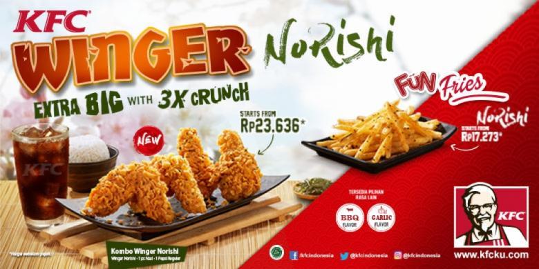 KFC Winger Norishi, Ayam Bercita Rasa Jepang yang 3 Kali ...