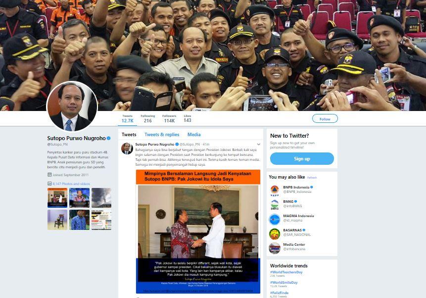 Akun Twitter Sutopo Purwo Nugroho - (Tangkapan Layar Twitter)