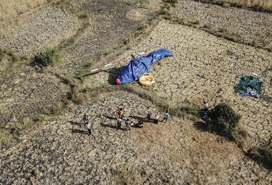 Penampakan Lokasi Jatuhnya Helikopter di Lombok Tengah