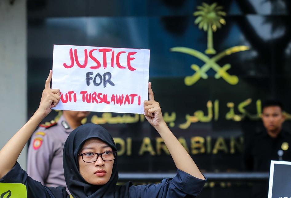 Aksi Unjuk Rasa Tuti Tursilawati Di Kedubes Arab Saudi